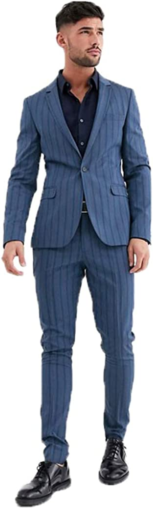 Men's Blue Vertical Stripes Suit Jacket Blazer 2 Buttons and Pencil Pierced Collar