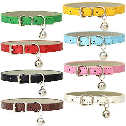 Katzenhalsbänder aus Leder mit Glöckchen, handgefertigt, polierte, langlebige Metallschnalle, verstellbare Haustier-Halsbänder für kleine Tiere im Innen- und Außenbereich, 8 Stück