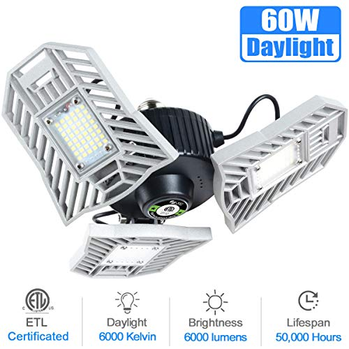 Garage Light, 6000 Lumens Tribright LED Garage Light Bulb 6000K Daylight 60W Garage Lighting Fixture Deformable LED Garage Ceiling Lights E26 Flexled Garage Light for Garage, Basement