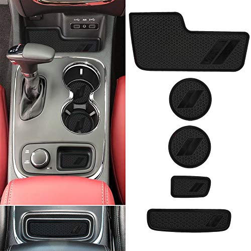 Auovo Center Console Mats for Durango Accessories 2014 2015 2016 2017 2018 2019 2020 Auto Car Cup Holder Insert/Coasters Custom Fit Cup Liners Pads Interior Decoration (5pcs/Set, Black)