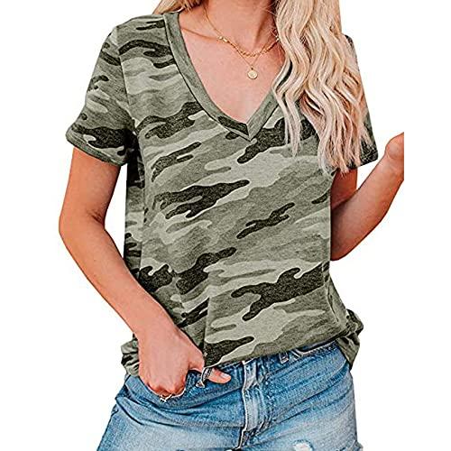 Sommer Frauen LäSsig Bedrucktes T-Shirt Mit Leopardenmuster Und V-Ausschnitt Und Kurzen äRmeln