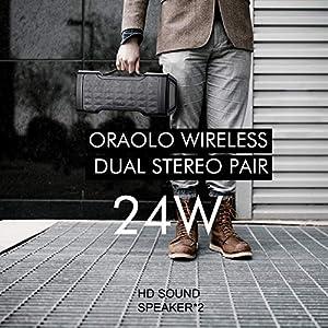 Bluetooth Speakers, Waterproof Wireless Speaker with Bluetooth, 24W Stereo Sound, Built-in Mic, 20 Hours Playtime Outdoor Speakers