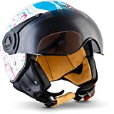 "MOTO Helmets® H44 ""Flower"" · Casco · Jet omologato Moto Demi-Jet Vintage Scooter Motorino Motocicletta Helmet Piloto Urbano Helm Urban Momo · ECE 22.05 Visor Click-n-Secure Borsa L (59-60cm)"
