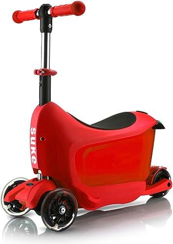 Triciclos Pedal Scooter para Niños Coche resbaladizo 1-6 años de Edad Bebé Puede Sentarse Flash Trípode para Niños multifunción ( Color   rojo )