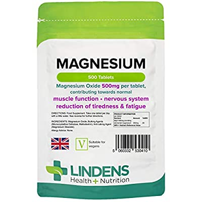 Lindens Magnesium Tablets 500mg – 500 Tablets – Reduces Tiredness and Fatigue, Supports Metabolism, Muscle Function, Nervous System, Bones, and Teeth - UK Manufacturer, Letterbox Friendly