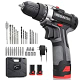 Cordless Drill with 2 Batteries - Battery Operated Drills Set (Max Torque 28Nm, 2-Speed, 10mm Automatic Chuck) Electric Drill Driver for Home & DIY