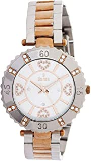 Sunex Women's White Dial Stainless Steel Band Watch - S6383RGW