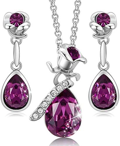CDE Rose Flower Earrings Pendant Set for Women 18K White Gold Plated Necklace Earring Sets Embellished product image