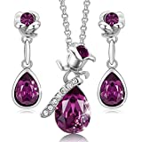 CDE Jewelry Set for Women Rose Gold Flower Pendant Necklace Earrings Embellished...