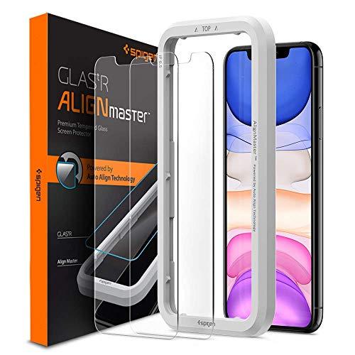 Spigen, 2 Stück, Panzerglas Schutzfolie für iPhone 11, iPhone XR, AlignMaster, Positionierhilfe für Installation, Hüllenfreundlich, 9H gehärtetes Glas, Face ID, Schutzfolie für iPhone 11 (AGL00101)