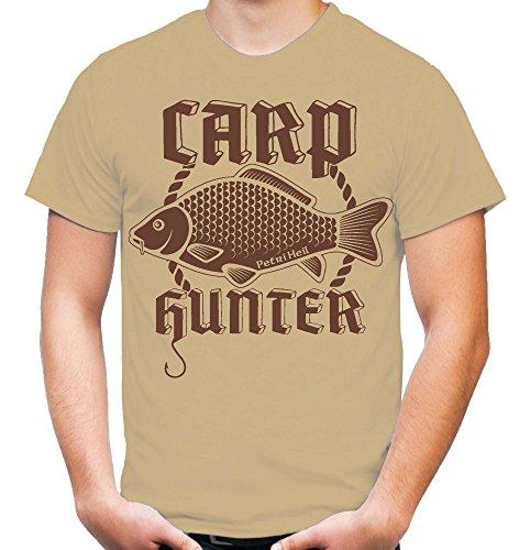 Carp Hunter T-Shirt   Orginal   Angler   Angel   Karpfen   Fisch   Forelle   Hecht   Angeln   Fishing   Fischen   Fun   M4 (S, Sand)