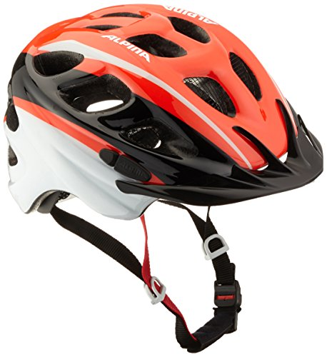 ALPINA ROCKY Fahrradhelm, Kinder, neon-red black-white, 52-57