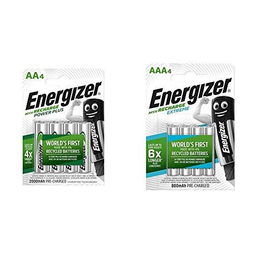 Energizer Power Plus AA - Pilas Recargables, Color Plateado + HR03 - Pack de 4 Pilas Recargables AAA, Color Negro