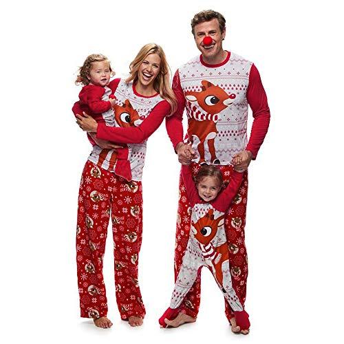 Homebaby Famiglia Pigiama di Natale Renna Donna Top Camicetta Pantaloni Pigiama Famiglia Sleepwear Set di Abiti Natalizi