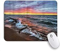 マウスパッド 個性的 おしゃれ 柔軟 かわいい ゴム製裏面 ゲーミングマウスパッド PC ノートパソコン オフィス用 デスクマット 滑り止め 耐久性が良い おもしろいパターン (日没の地平線に対する湖の海岸の流木)