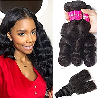 Tinashe Hair Brazilian Hair Loose Wave Bundles with Closure Virgin Human Hair Extensions 8 to 28 inch(18 20 22+16 Middle Part Closure)