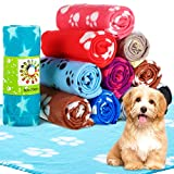 12 Pieces Dog Blanket Fleece Fabric Puppy Blanket with Paw Print Soft Printed PET Soft Blanket Washable Dog Sleep Mat Pad Bed Cover for Kitten Puppy and Other Small Animals (Multiple Style)