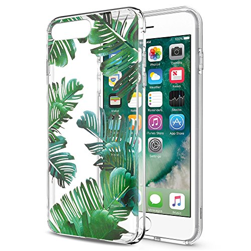Eouine Funda iPhone 8 Plus, Funda iPhone 7 Plus Cárcasa Silicona 3D Transparente con Dibujos [Antigolpes] Protector Fundas Movil para Apple iPhone 7Plus / 8Plus 2018-5,5 Pulgadas (Hojas)
