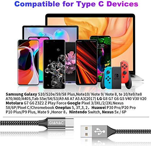 USB C Kabel [5 Stück 0.25M 0.5M 1M 2M 3M] Ladekabel Typ C und Datenkabel Fast Charge Sync Schnellladekabel für Samsung Galaxy S10 S9 S8 Plus Note 10 9 8 A3 A5 2017, Huawei P10 P20 lite, HTC 10 U11
