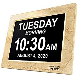 American Lifetime, Newest Version, Day Clock Extra Large Impaired Vision Digital Clock with Battery Backup and 5 Alarm Options, Beige