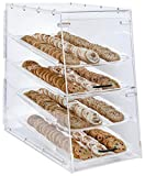 Large Bakery Display Storage Case, 4 Trays, Magnetic Door, 13.9 x 24.5 x 24.5 Inch (Clear Acrylic)