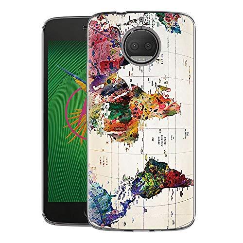 Zhuofan Plus Cover Motorola Moto G5S Plus, Custodia Clear Silicone Soft Transparent TPU Gel con Design Print Pattern AntiGraffio Antiurto Protactive Cover per Motorola Moto G5S Plus, Carta Geografica