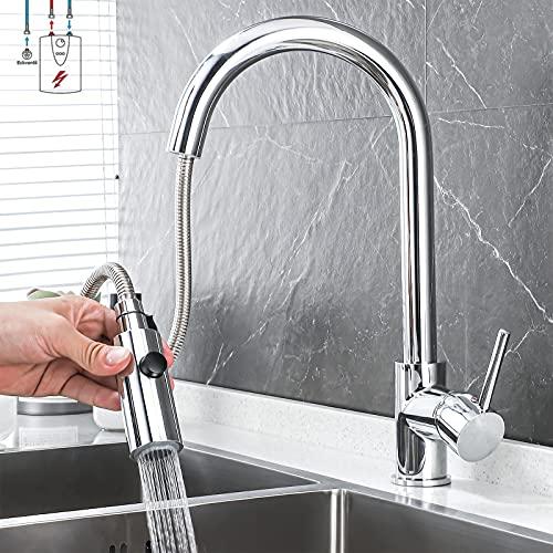 Vketo Niederdruck Armatur Küche Niederdruckarmatur Wasserhahn küchenarmatur Niederdruck mit brause Ausziehbar Chrom