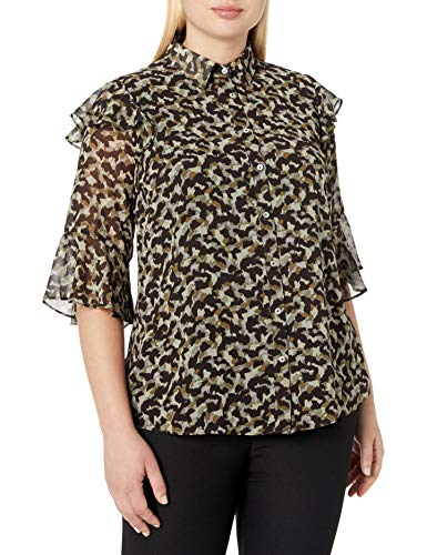 City Chic Women's Apparel Damen Printed Collared top with Button down Detail T-Shirt, Camo Command, 46
