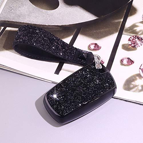 SJIUHCas de clé de voitureÉtui de clé de Voiture Luxueux Starry Bling Crystal Diamond pour BMW série 1/3/5/7 X3 M2 / 3/4/5/6 Accessoires intérieurs Porte-clés, A, Noir, Porte-clés