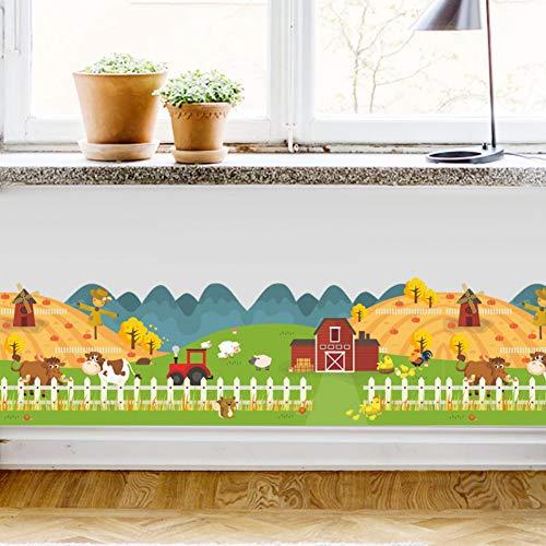 glücklich Bauernhof Tierhaus Zaun Wandaufkleber für Kinderzimmer Tapete Aufkleber Kinder Geschenk Poster Wohnkultur Aufkleber Wandbild