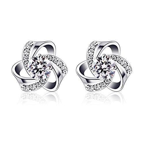 B.Catcher Ohrringe Damen 925 Silber Ohrstecker Ohrschmuck Blume Anhänger \'\'Vergesst mich nicht\'\' Set Zirkonia Geschenk für Damen