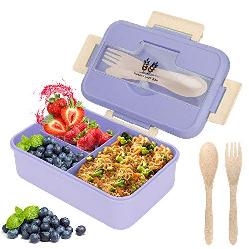 Lunch Box, Bento Box Boite Bento, Boîte à Repas, Sécurité Anti-Fuite Écologique Hermétique Boîte à Repas pour Micro-Ondes et Lave-Vaisselle pour Le Pique-Nique, l'école, Le Travail, Bureau (Bleu)