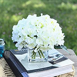 enova home artificial hydrangea silk flowers arrangements in cube glass vase for home wedding decoration silk flower arrangements
