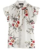 ROMWE Women's Floral Print Short Sleeve Ruffle Bow Tie Blouse Top Shirts White XL