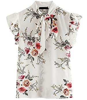 ROMWE Women s Floral Print Short Sleeve Ruffle Bow Tie Blouse Top Shirts White XL