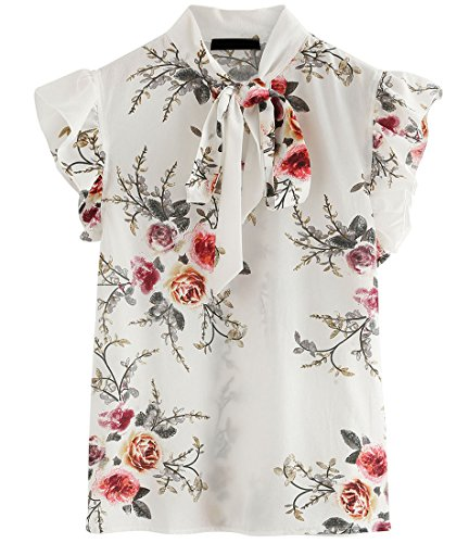 ROMWE Women's Floral Print Short Sleeve Ruffle Bow Tie Blouse Top Shirts White L