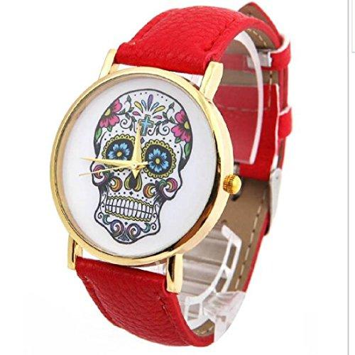 Fashion mujer Diseño de calaveras de piel sintética reloj de pulsera esfera redonda relojes rojo