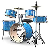 LAGRIMA 16 inch 5 Piece Full Size Complete Children/Junior Drum Set w/Adjustable Stool, Stainless Steel Cymbals,Pedals & 2 Drumsticks,Thick Drum Skin & Double Braced Hardware,Sparkles Bright Blue