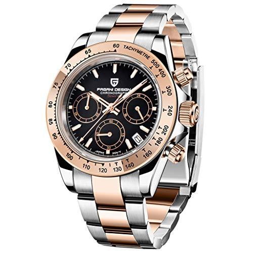 PAGANI DESIGN Reloj de pulsera analógico de cuarzo para hombre con cronógrafo, resistente al agua, correa de acero inoxidable