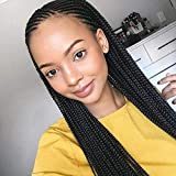 RDY 13×6 Black Micro Braids Synthetic Lace Front Wigs for Black Women with Baby Hair Cornrows Half Box Braided Wigs Heat Friendly African Hair (18 Inch,180% Density)