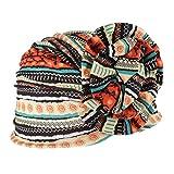 Baoblaze Mujer Sombrero Turbante de Estilo Musulmán Africano con Estampado Floral Gorro Bufanda de Quimioterapia - Naranja