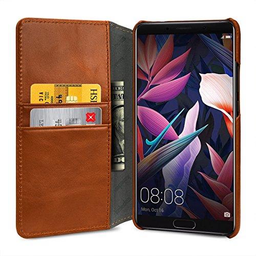 keledes kompatibel mit Huawei Mate 10 Hülle aus Echtem Leder,Brieftasche Flip Case mit Karten-Fächern, Cognac Braun - 3