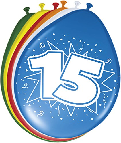 Folat - 15 Año Globos para Fiesta Decoración - Multicolor - 12In/30cm - 8 piezas