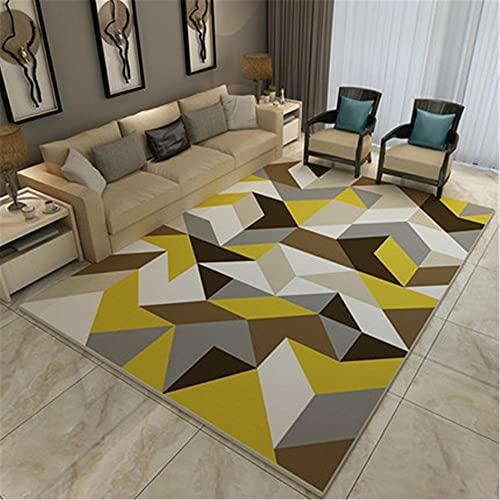 IRCATH Amarillo Gris marrón patrón geométrico modalista Secado al Aire y Transpirable Sala de Estar Dormitorio Sala de Estar alfombra-80x160cm Alfombra de salón con de Polipropileno
