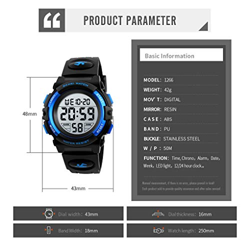 Kid's Digital Watch Outdoor Sports 50M Waterproof Electronic Watches Alarm Clock 12/24 H Stopwatch Calendar Boy Wristwatch - Black Blue