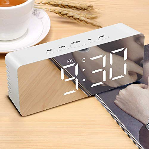 TIMESOON Digital LED Alarm Clock, Mirror Alarm Clock for Heavy Sleepers Kids Large LED Display with Snooze Time Temperature Function for Bedroom, Office Powered & USB Powered (White-1)