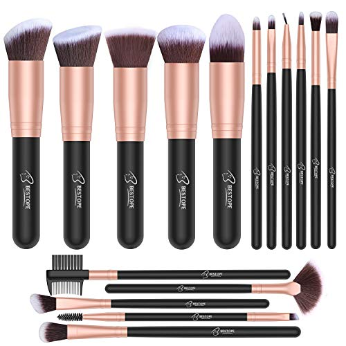 Set de brochas de maquillaje profesional BESTOPE 16 piezas Pinceles de maquillaje Set Premium Synthetic Foundation Brush Blending Face Powder Blush Concealers Kit de...