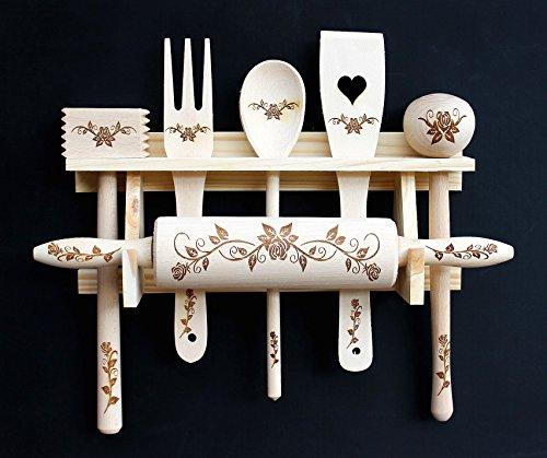 Preisvergleich Produktbild DanDiBo Küchenset 6 TLG. aus Holz mit Gravur Küchenhelfer Kochlöffel Teigrolle Küchenutensilien-Set