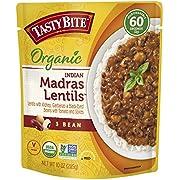 Tasty Bite Organic 3 Bean Madras Lentil 10 Ounce, Lentils, 6 Count, (Pack of 6)