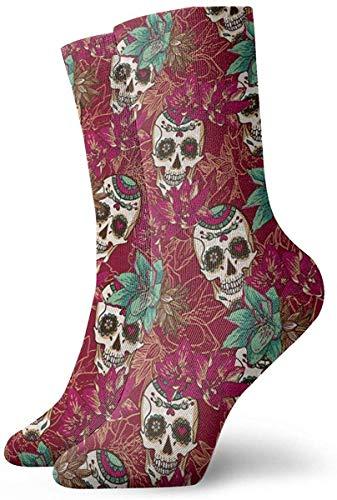 Love girl Unisex Crew Socken Totenkopf Herzen & Blumen Mode Neuheit Trockensocken Strümpfe 30cm